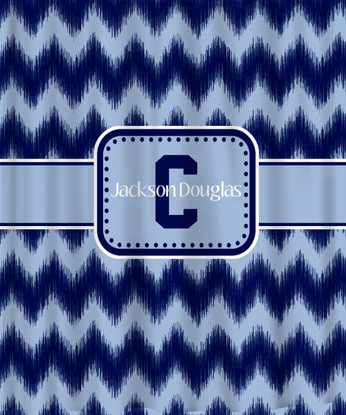 Personalized Custom IKAT Chevron Shower Curtain  - Any Color - Shown Blue on Blue Sport Look and Grey with Eggplant, Turquoise & Gold