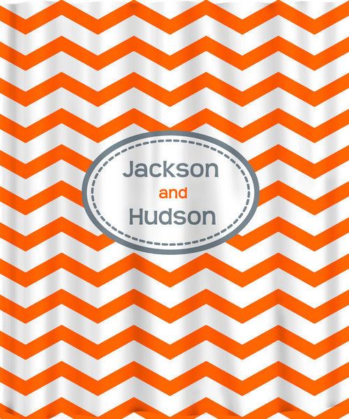 Custom Personalized Chevron Shower Curtain - Shown  with assorted color Options - standard or extra long