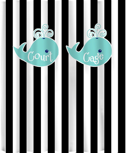 Personalized Shower Curtain -Stripe and Whale -Shared Curtain- Available any color