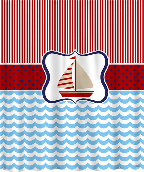 Personalized SailAway Shower Curtain - Pinstripe-Dots-Waves