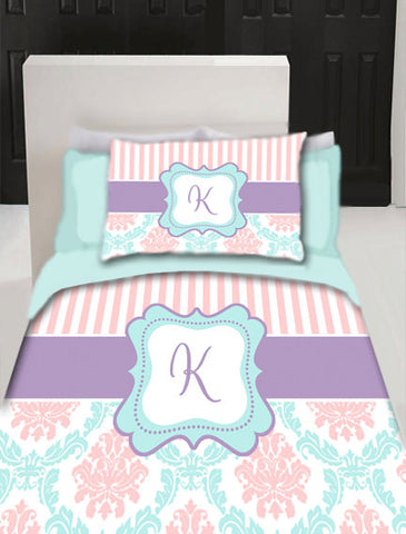 Damask and Stripe Monogram Duvet Cover- Personalized - Available Twin, Queen or King Size- Any Colors