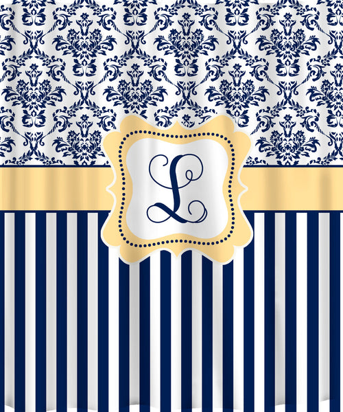 Personalized Shower Curtain - Custom with your Name or Initials - Damask & Stripe - Your Colors