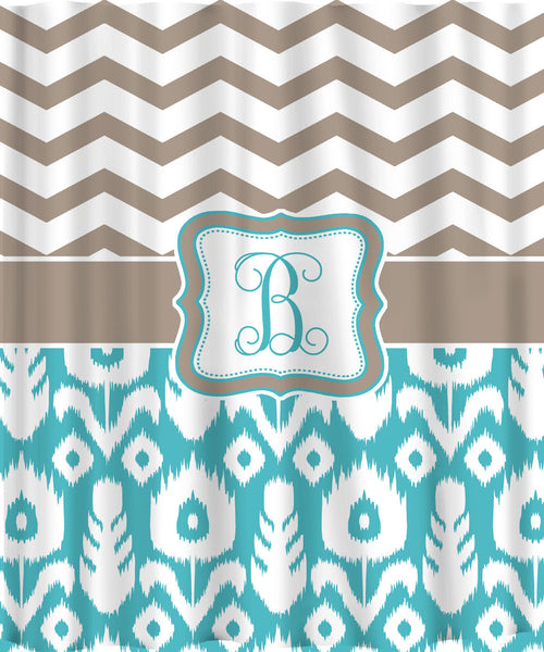 Custom Personalized Chevron Shower Curtain - Combo patterns- chevron and ikat -Neutral beige or taupe with your accent colors
