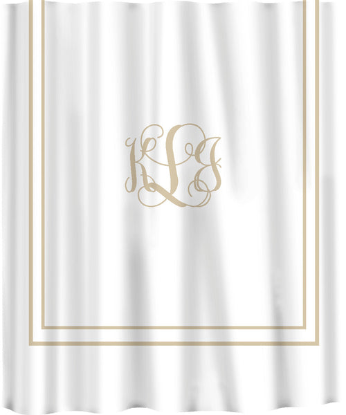 Custom Shower Curtain -Simplicity in White or Cream with monogram in your colors -Available Standard or Ex Long Size