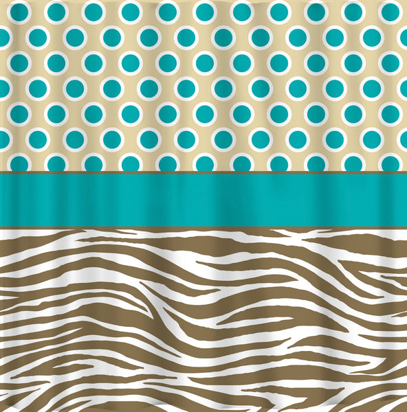 Custom Designer Style Shower Curtain - Turquoise and Tan combinations