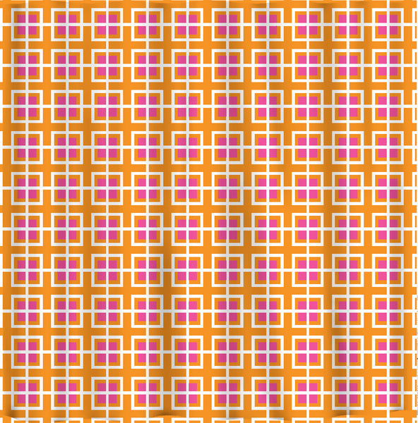 Customs Geometric  Shower Curtain - Hot Pink, Orange and White - Available Any Color of your choice