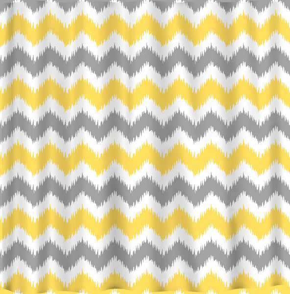 Custom IKAT Chevron Shower Curtain - 3 color combo - any color