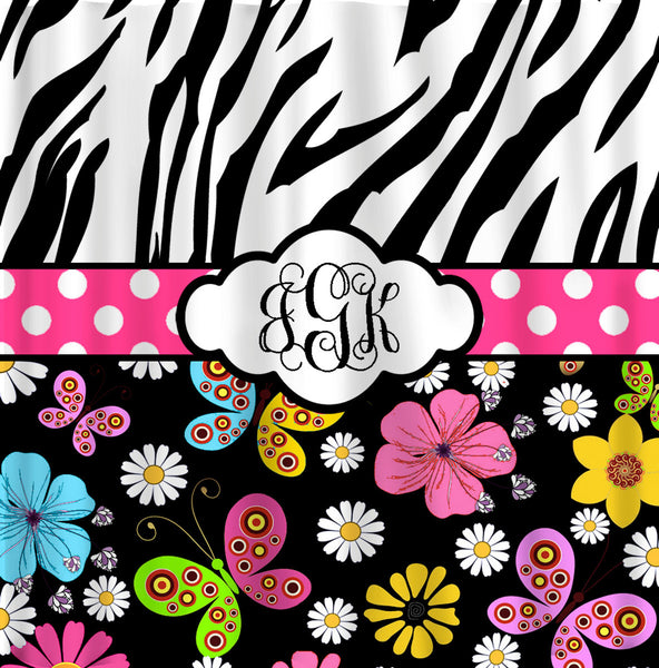 Custom Personalized Shower Curtain - Safari Summer - Zebra and Multi Color Floral
