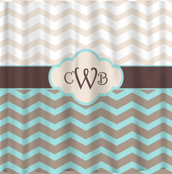 Personalized Shower Curtain Chevron and Vintage Dots & Checks