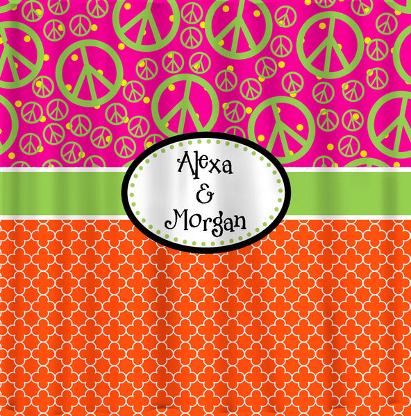 Custom Personalized Quatrefoil Shower Curtain - With Peace Comb option, Hot Pink, Orange & Lime Accent - ANY colors of your choice
