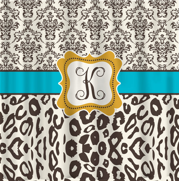 Personalized Shower Curtain - Custom with your Name or Initials - Damask & Leopard