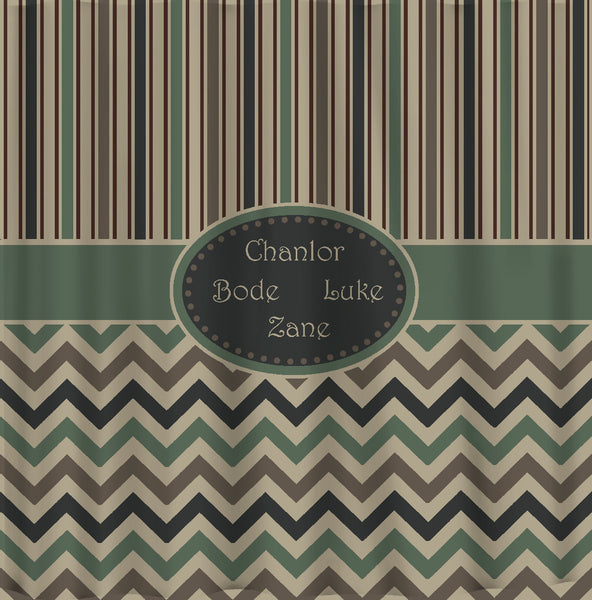 Custom Personalized Designer Shower Curtain -Shown in Camo Colors Stripe and chevron Combo