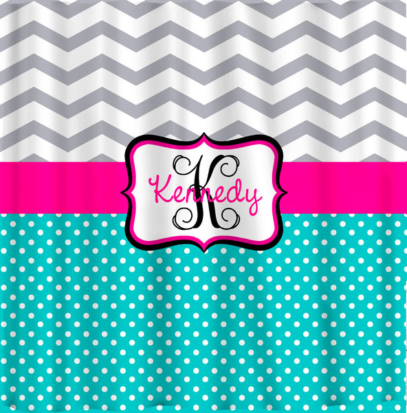 Personalized Shower Curtain -Custom with your Name or Initials -Chevron and dots or ikat and chevron with any color combo accent