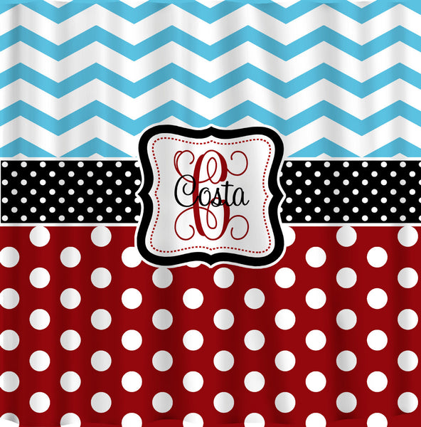 Personalized Shower Curtain -Blue Chevron-Red Polka Dots, Blk and white accents - Any Colors - Your Personalization and Accents