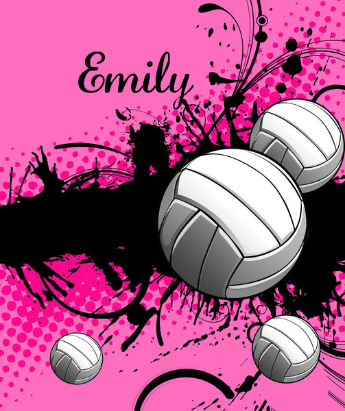 Volleyball Super Plush Fleece Blanket -VERY SOFY -Hot Pink- PERSONALIZED
