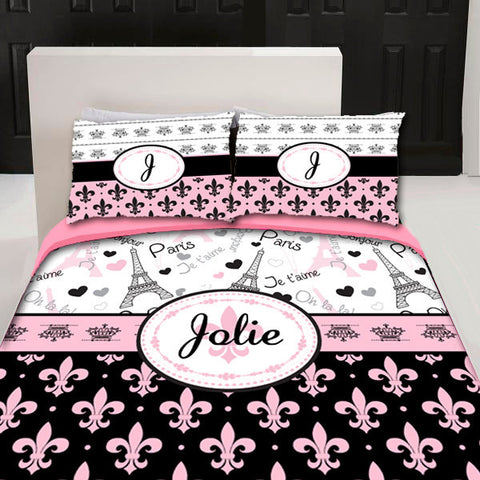 I Love Paris Fleurs Designer Twin -Queen or King Duvet Cover and shams- Personalized - color accents can be changed