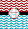 Custom Personalized Chevron Combo Shower Curtain - your colors - shown Red and Turquoise Chevron -Perfect for Classroom Closets