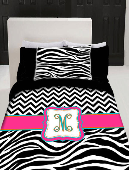Custom Personalized Chevron  & Zebra Duvet Cover Set -Available Twin-TWXL-Queen- King  size - Any Color Accent