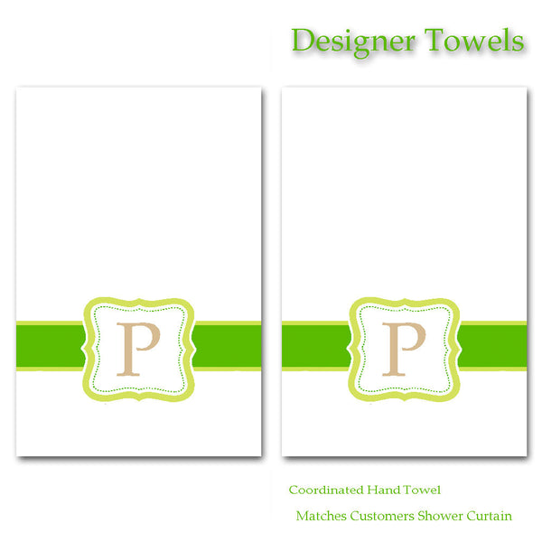 Personalized Custom Set Hand Towels - Custom Designed to Match Shower Curtain