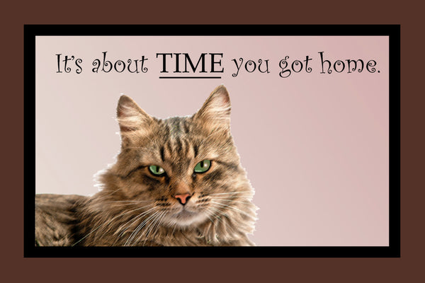 Its About Time You Got Home - Cat Door Mat - 24x18