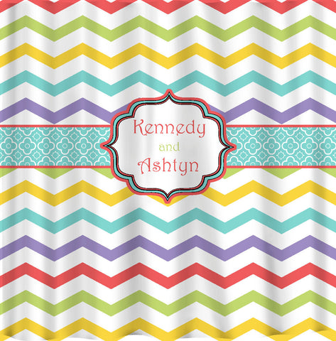 Custom Personalized Chevron and combo with dots Shower Curtain -Any colorway Multi Chevron - Available YOUR choice