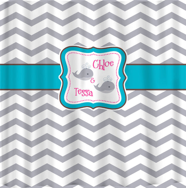 Personalized Shower Curtain Chevron and Whale
