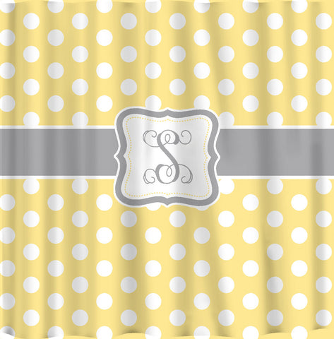 Personalized Polka Dot Shower Curtain -Any color with  White Polka Dots and your accent color