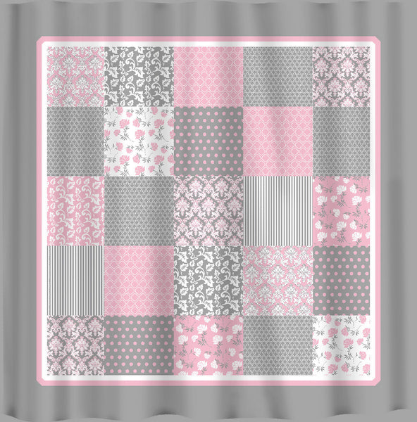 French Country Patchwork Shower Curtain - Pink, Grey and White