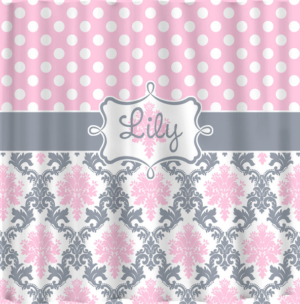 Custom Personalized Damask & Dots Shower Curtain - Shown in Pink, Grey and white - ANY Color - Standard or ExLong
