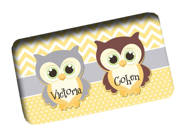 Custom Personalized Bath Mats -Chevron & Mini Dots with Owls Shown - Any Design to match Shower Curtains