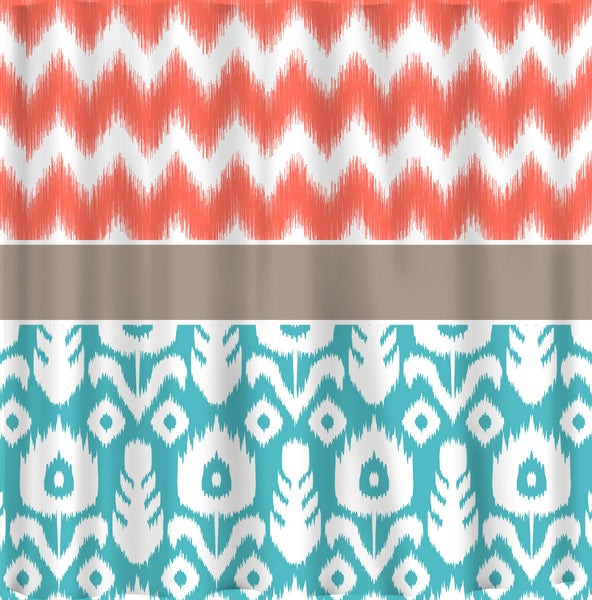 Custom IKAT Chevron Shower Curtain - Any Color - shown Coral Chev Ikat withTurquoise or Navy Ikat motif - Standard or ExLong