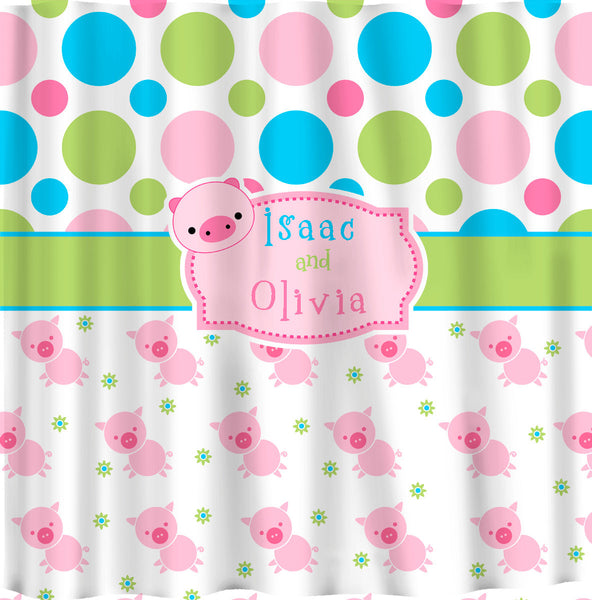 Cute Pig Theme Shower Curtains - Personalized Your Choice of Colors