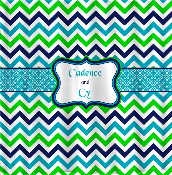 Shower Curtain - Multi Color Lime, Navy, Turquoise and White - Accent Any colors of your choice