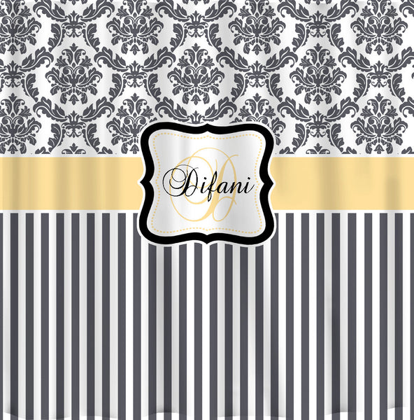 Personalized Damask & Stripe Shower Curtain - Any Color - with or without Frame and Monogram - Standard or Ex Long Size