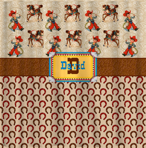 Personalized Western Theme Shower Curtain - Tan, Taupe, Copper, Leather,ellow & SW Color Accents - Red or Green Version