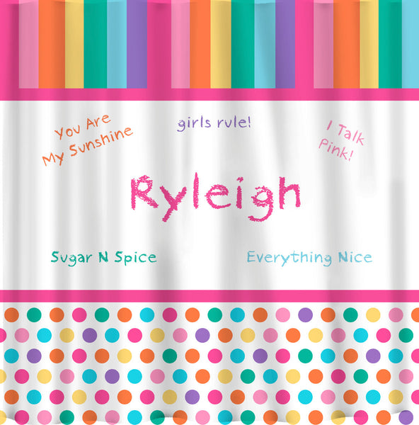 Personalized Girl Talk Pastel Rainbow Shower Curtain - Personalized Your Name and Custom Phrases
