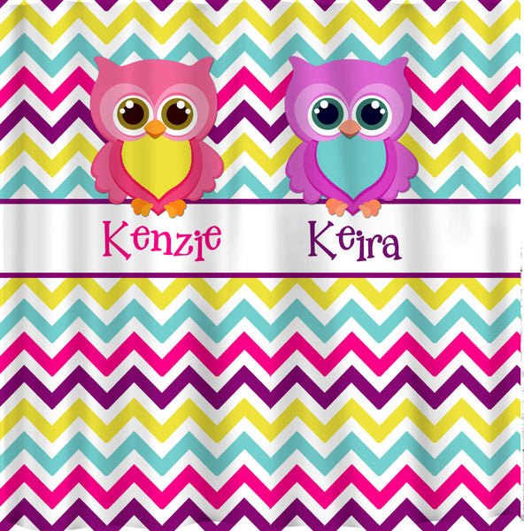 Personalized Shared Bright Chevron Shower Curtains featuring Owl Friends - Any Color Chevron or Owls