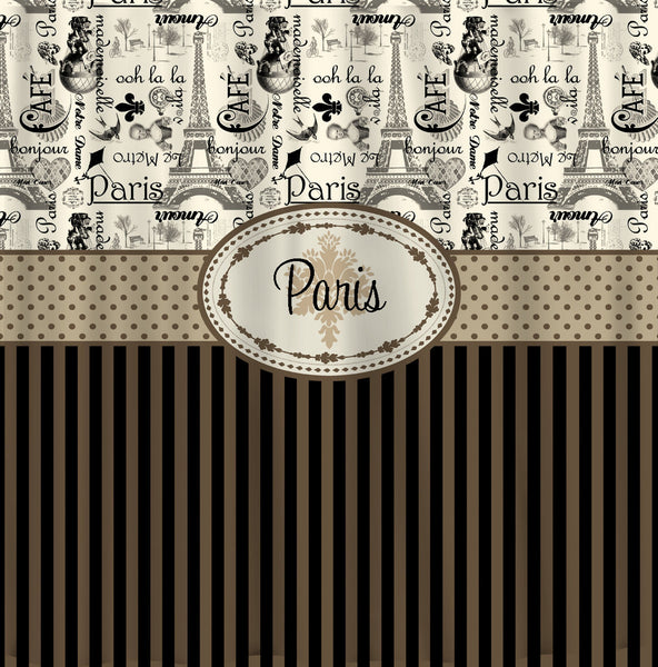 Personalized Vintage Paris and Stripe Shower Curtain - Lt Brown, Tan, Taupe & Black