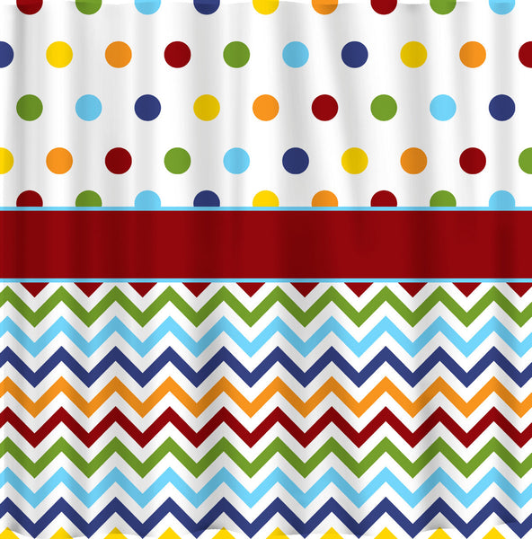 Shower Curtain - Rainbow Bright Dots and Chevron - Or Any colors of your choice