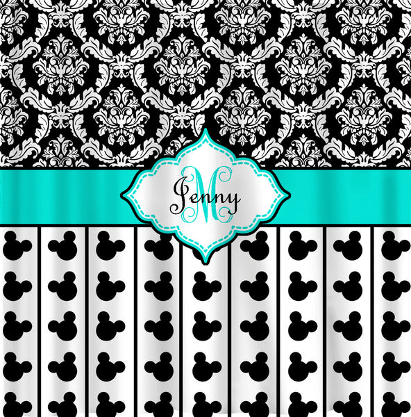 Personalized Damask Shower Curtain - Custom with your Name or Initials - Black and white damask with Your Choice  Accents