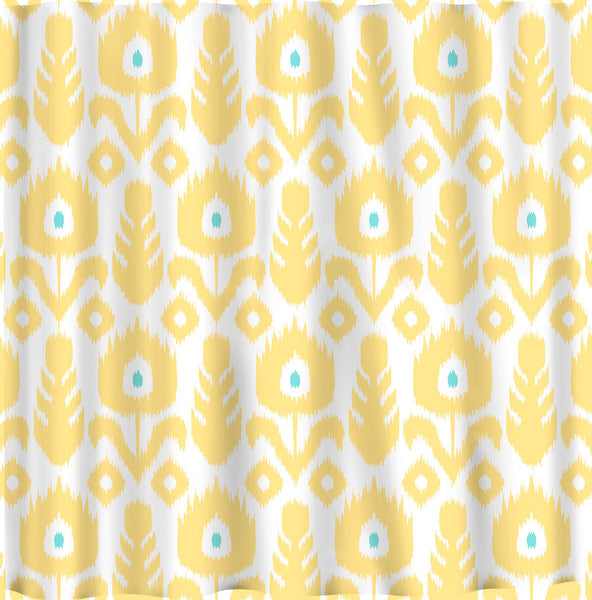 Custom IKAT Chevron Shower Curtain - Any Color - shown  Yellow-Wht-Turq,  Roy Blue-White-Turq. Turq Blue, and Navy- Turquoise combos