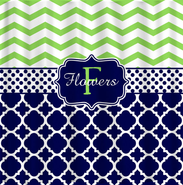Personalized Shower Curtain Lime Chevron Navy & White Quatrefoil