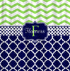 Personalized Shower Curtain -Lime Chevron- Navy & White Quatrefoil - Any Colors - Your Personalization and Accents