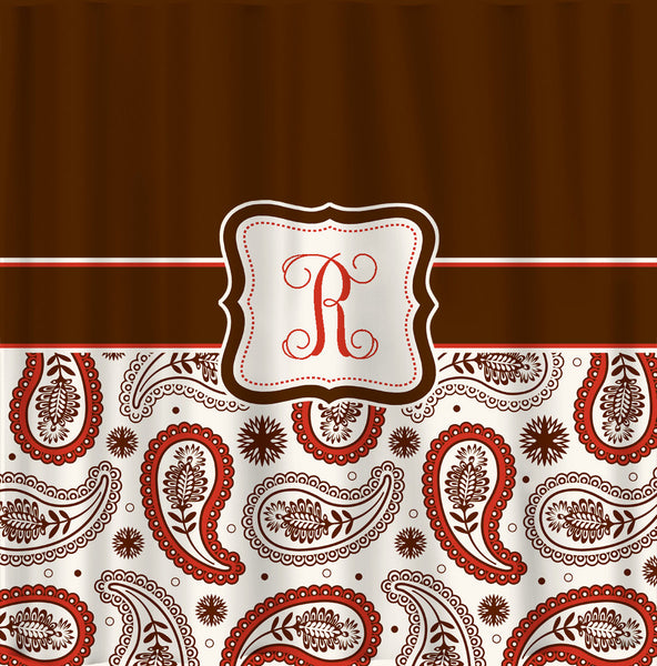 Personalized  Designer Paisley Shower Curtain - Personalized Your Initial(s) and/or names