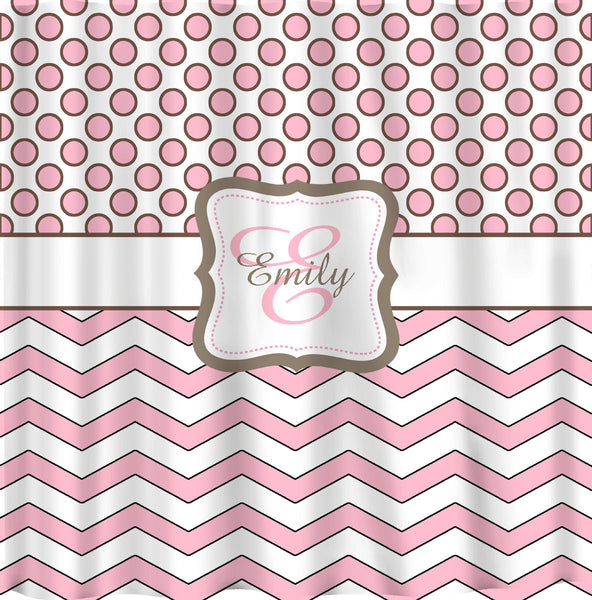 Pinkalicious Shower Curtain - Polka dots and chevron - pink outlined in chocolate - Any colors of your choice