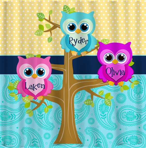 Personalized Shared Multi Owls Shower Curtains featuring Owl Friends - Any Color dots, paisley  or Owls