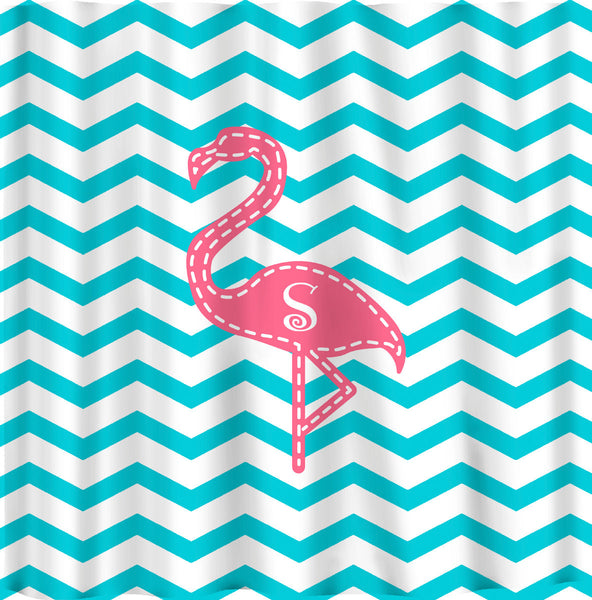 Personalized Pink Flamingo Shower Curtain - Shown -Aqua with Pink and Personalized with 1 to 3 initials