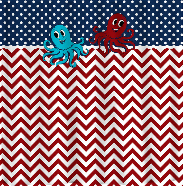 Custom Personalized Chevron Shower Curtain - dots, chevrons and Little Monster or Big Squid combination - Your Colors