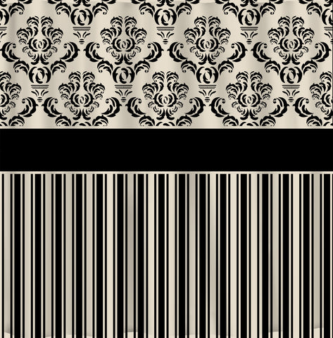 Custom Damask & Stripe Designer Shower Curtain - Your Choice ANY COLOR available - Shown Black and Cream