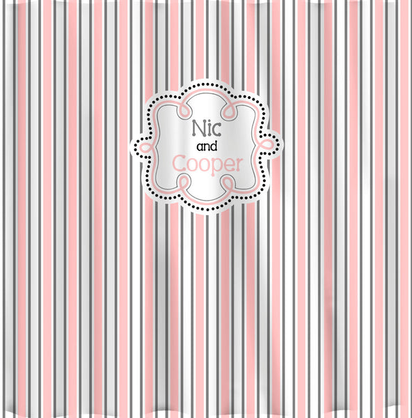 Personalized Fancy Stripe Shower Curtain - Shown Pink, Grey & White Fancy Stripes with Dotted Monogram Frame